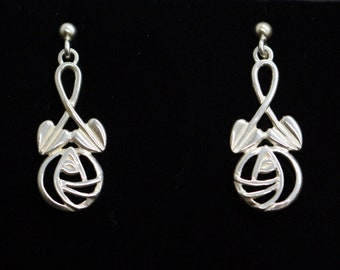 0f3225487 Vintage Real Sterling Silver Mackintosh Rose Design Celtic Dangle Drop Earrings  Carrick Jewellery Wedding Birthday Sweetheart Gift for Her