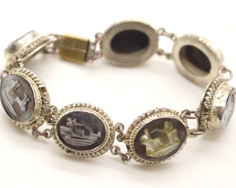 Vintage Mother of Pearl Continental 800 Silver '7 Days of Week' Roman Gods Bracelet 7 1/4 inch ca1970s Cameo Factory Naples Boxed