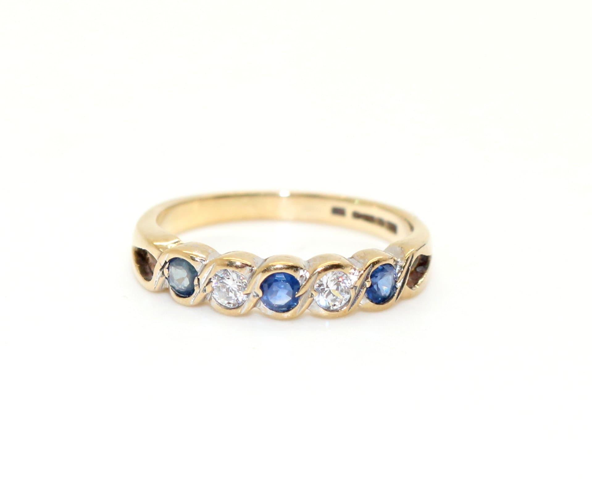 9ct Carat Yellow Gold Ladies Half Eternity Ring with Cubic Zirconia//CZ