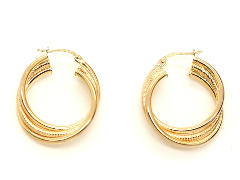 04eeed62482a3 Vintage Real 9ct Yellow Gold Large Hoop Heavy EARRINGS Italian AREZZO  Unoaerre Italy Jewelry Birthday Gift for Her