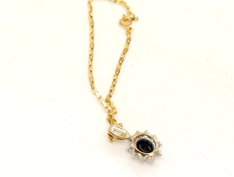9ct Yellow Gold Blue Sapphire Cubic Zirconia CZ pendant 16inch long Belcher Chain Necklace Vintage Jewelry Anniversary Birthday Gift for Her