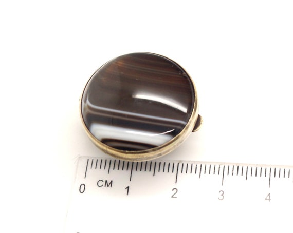 Antique Victorian LARGE Brown Banded Agate Bachelor Shirt Stud or Button Vintage Jewelry ca 1890s Wedding Groom Birthday Gift for Him