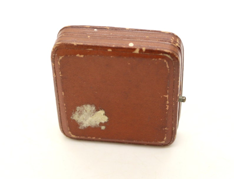 Antique Jewelry Tooled Leather Box EMPTY for Brooch Ring ca1910 Display Vintage Jewellery Case