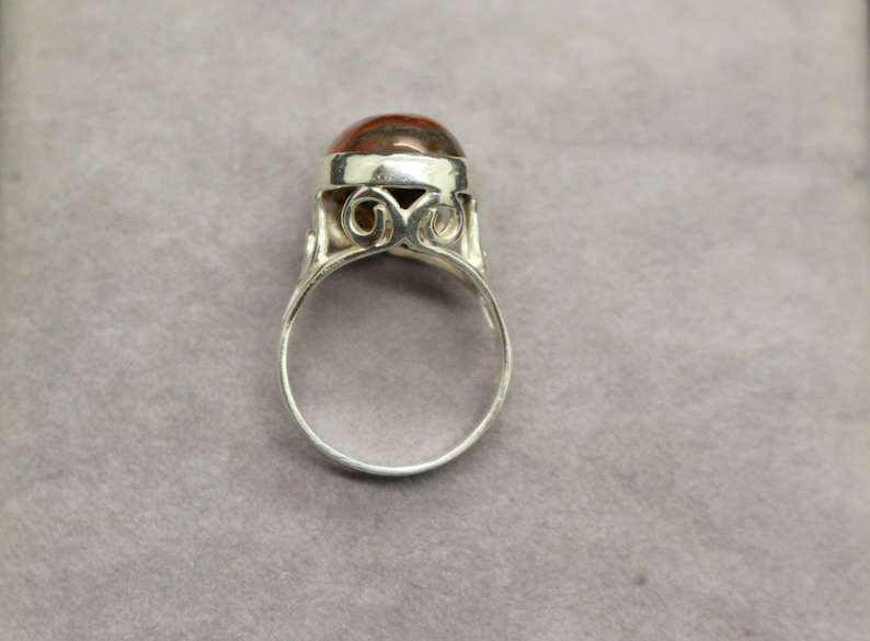 Vintage Real Sterling Silver Scottish Green Cabochon Orange Green MOSS AGATE Ring sz N US 6 34 Christmas Birthday Sweetheart Gift for Her