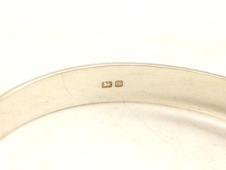 Vintage Real Sterling Silver Hinged Flower Scrolled Decoration Bangle Bracelet Patented Hallmarked Birmingham 1988 Birthday Gift for Her