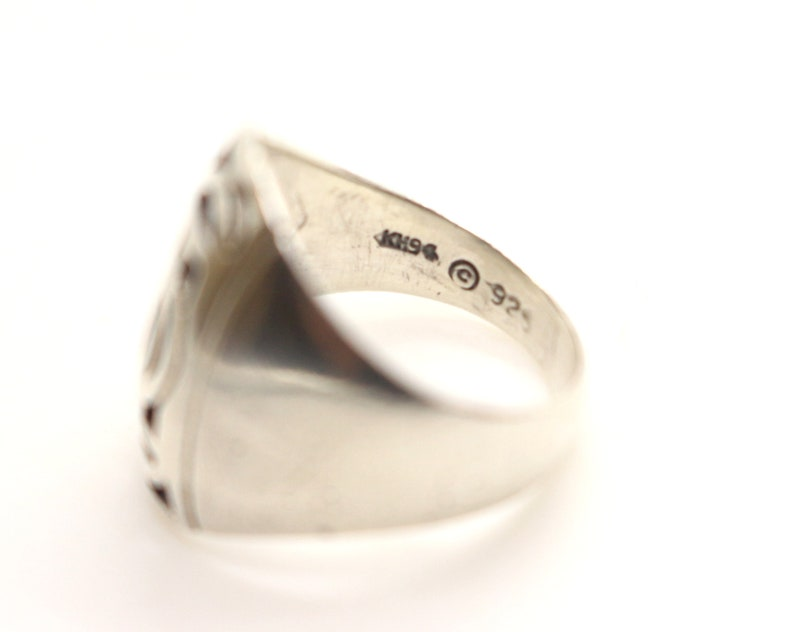 Vintage Real Sterling Silver Kit Heath Celtic Design Signet Ring sz M US 6 14 Sweetheart Christmas Birthday Gift for Her