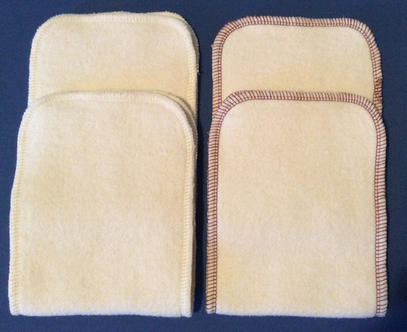 Hemp Organic Cotton Fleece diaper Doublers  5 x 13 Brown trim