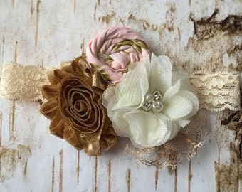 Baby headband, Couture headband, Pink and Gold Headband, Lace headband, Newborn headband,Newborn Photo Prop, Wedding Headband, Vintage