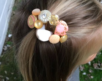 Button Hair Clip - Button Clip - Hair Clip - Pink Button Clip - Pink Hair Clip - Button Hair Accessory - Pink Hair Accessory
