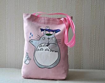 Totoro design cute anime japanese Anime tote my neighbor totoro Miyazaki hand painted bag