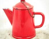 Vintage enamel coffee pot red enamelware tea water kettle Dutch c1970