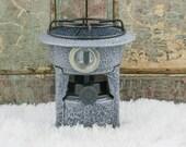 Vintage Enamelware Stove Kerosene Camping Cooker Burner Enamel Heater Gray Speckleware Emaille Petroleumstel