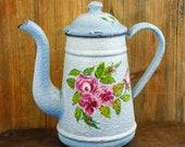 Vintage French Enamel Coffee pot Enamelware Tea pot Roses floral Koffiepot Theekan