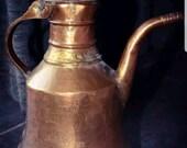 Antique middle eastern persian islamic kettle water coffee tea pot copper brass dallah