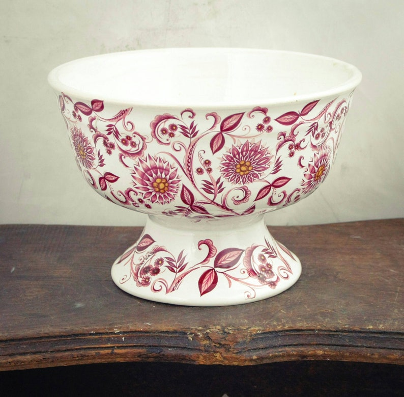Ceramic footed bowl white with pink floral design