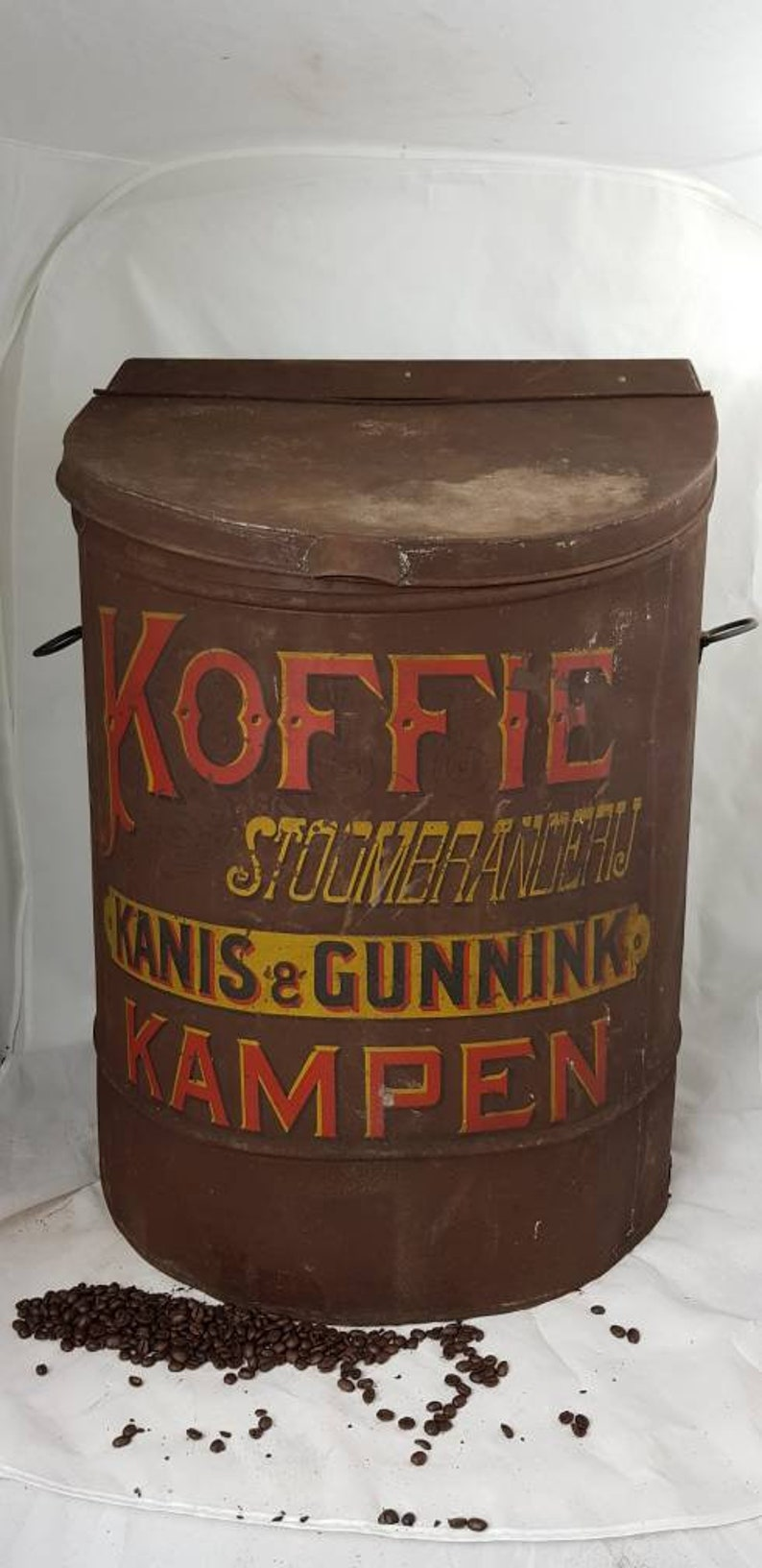 Hugh KANIS /& GUNNINK Kampen Metal Coffee Tin c1920 Dutch Coffee Box Jar Canister Bin Megalarge Rare Netherlands
