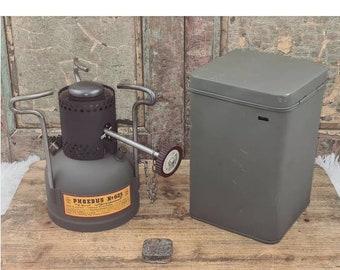 Phoebus No. 625 gasoline cooker stove burner with metal box
