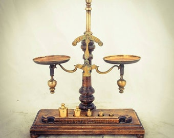 Antique Italian Weighing Apothecary Balance Vintage Compass Beam Scales