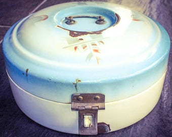 Vintage Enamel Bread Box Enamelware Dutch Round Breadbox ART DECO Bin Broodtrommel