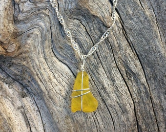 Yellow sea glass necklace