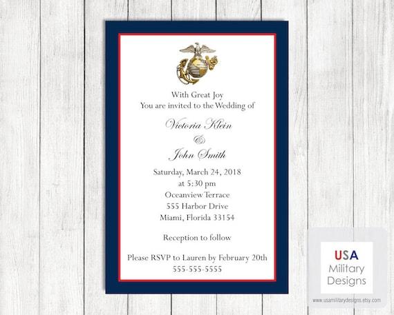 Army Wedding Invitations: Items Similar To US Marine Corps Wedding Invitation