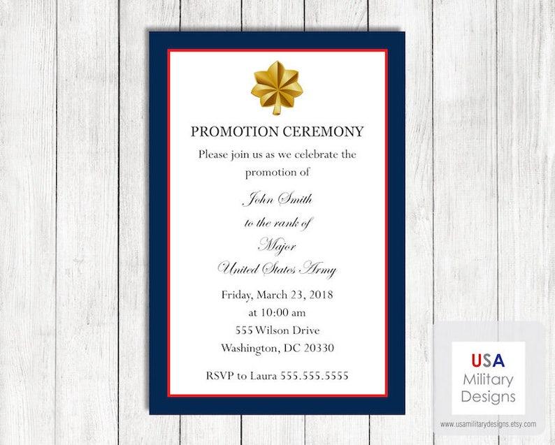 Army Promotion Ceremony Invitation Printable Army Promotion Etsy