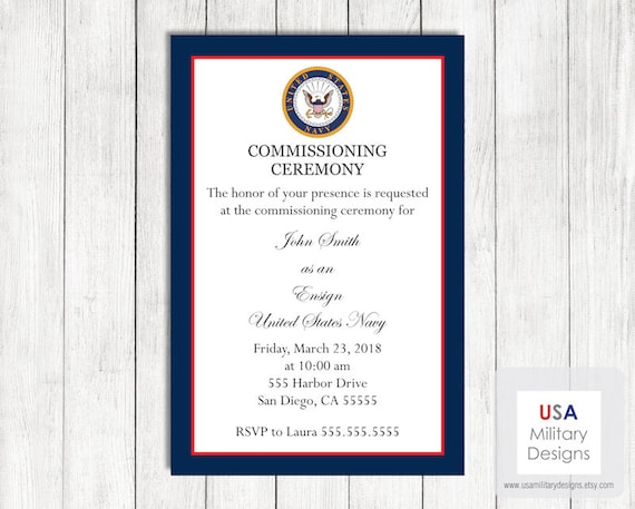 navy military commissioning ceremony invitation printable us etsy