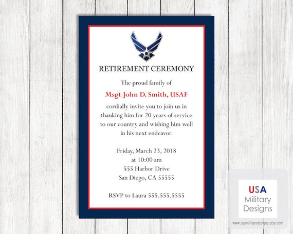 air force retirement ceremony invitation printable us air etsy