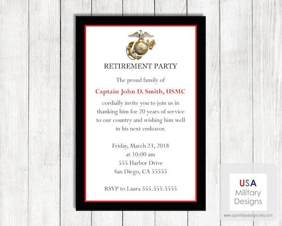 Marine Corps Retirement Invitation Printable