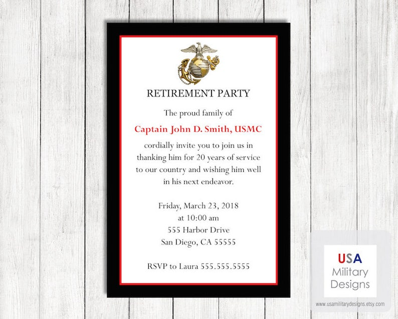 picture about Printable Marine Corps Emblem titled Maritime Corps Retirement Invitation, Printable Maritime Corps Retirement Invitation, Military services Retirement Celebration Invitation
