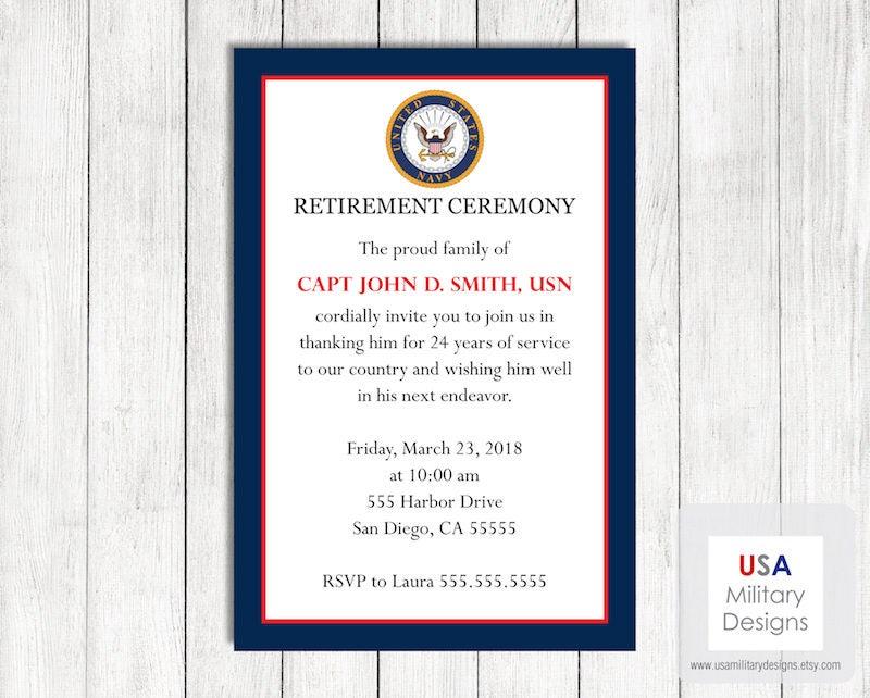 Navy Retirement Ceremony Invitation Printable US Military