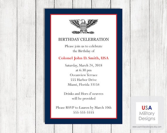 US Army Birthday Invitation Printable