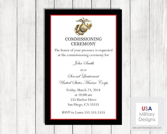 Marine Corps Commissioning Ceremony Invitation Printable