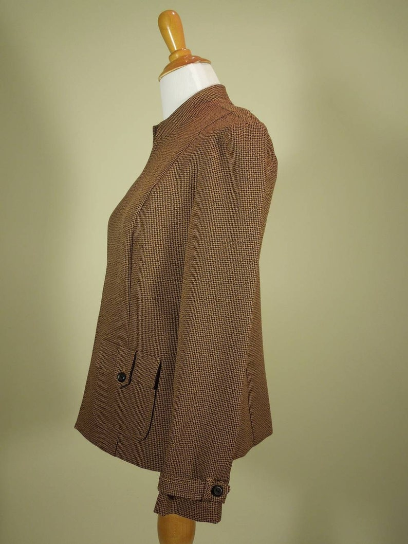 Stand Up Collar Vintage Jacket Brown /& Black Tiny Tweed. Perceptions Size 6P Open Front