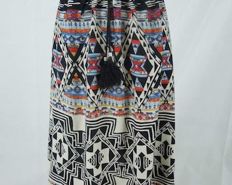 Sale! Boho India Print Short Skirt. Elastic waist. Bright Multi-Print. Size Small.