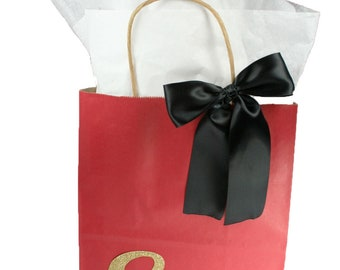 1863f0fb5d CHRISTMAS RED Paper Party Birthday Gift Bag   Choice of Gold Glitter Number  and Satin Bow Color CUB Size 8