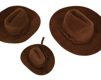 c80a46513e6af 12 Mini BROWN Felt COWBOY HAT Western Wedding Party Favor Choose Size