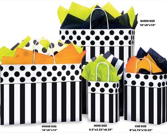 DOMINO ALLEY Design Print White Kraft Shopping Gift Paper Bag ONLY Choose Size & Package Amount