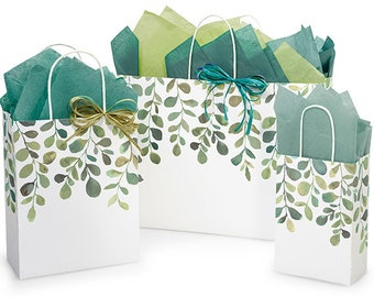 WATERCOLOR GREENERY Design Print White Kraft Shopping Gift Paper Bag Only Choose Size & Package Amount