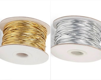50 yards Metallic Gold 1mm Lame Non-Elastic Cord String Thread Jewelry Crafts