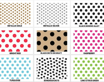 """POLKA DOTS Design Print Gift Grade Tissue Paper Sheets - 15"""" x 20"""" Choose Package Amount"""