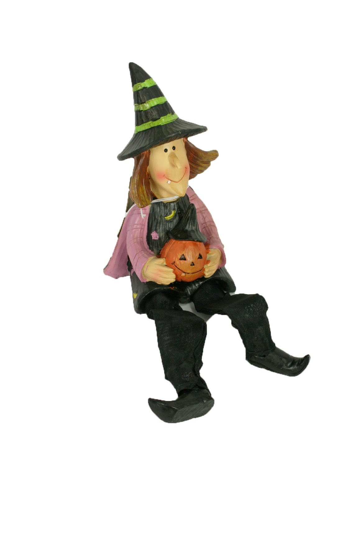 Resin Witch Holding Pumpkin Decorative Halloween Sitter with