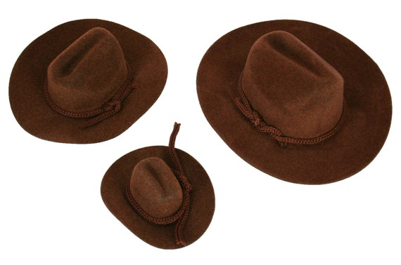 12 Mini BROWN Felt COWBOY HAT Western Wedding Party Favor  9475497f0476