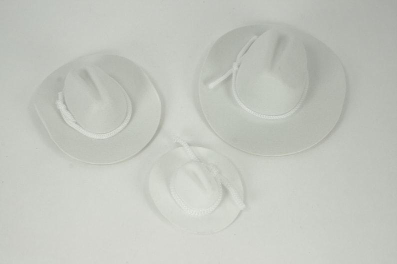 Set of 12 Miniature White Felt Cowboy Hats