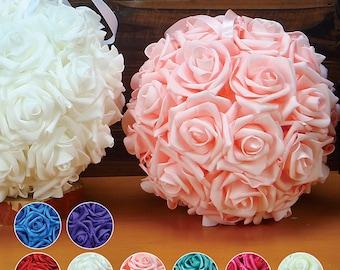 "SMALL 7"" Hanging Foam Pomander Kissing Rose Ball Bridal Wedding Decor Choose Color"