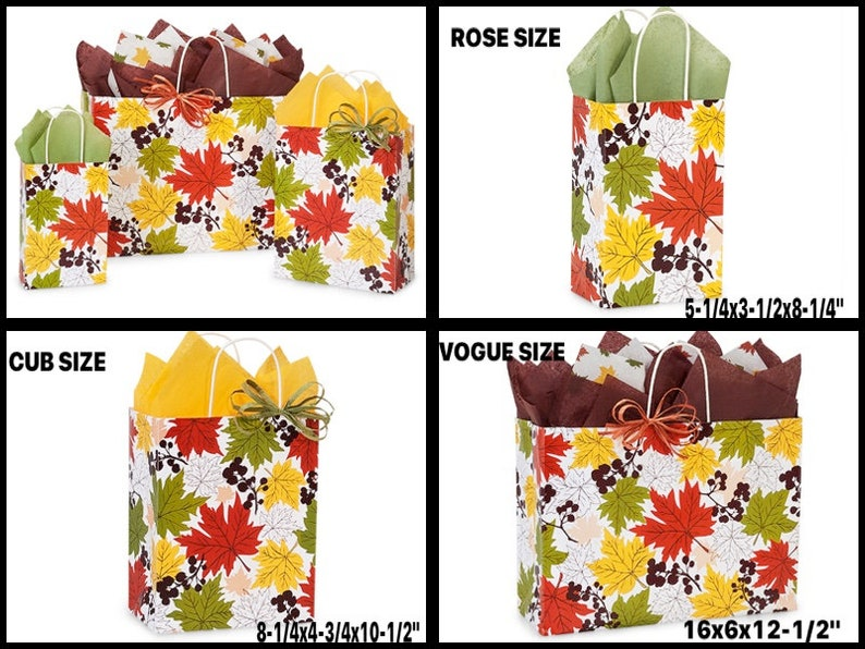 FALLING LEAVES Print Kraft Shopping Gift Paper Bags Choose Size /& Package Amount