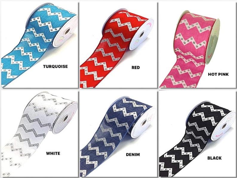 2-12 CANVAS CHEVRON Design with Glitter 10 Yard Ribbon Non-Wired Choose Color
