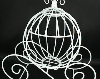 Decorative White Metal Cinderella Pumpkin Carriage Wedding or Party Table Decor