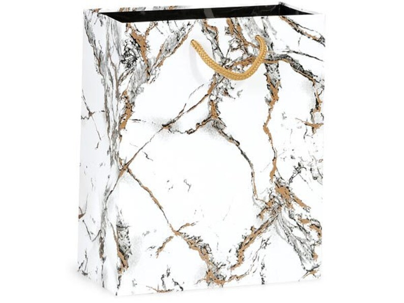 MARBLE Gloss Design Wedding CUB Size 8x4x10 Bag With Choice of Tissue Paper Color and Package amount