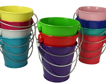 """1 Metal Pail Bucket with Handle Party Favor 4.25"""" Tall"""